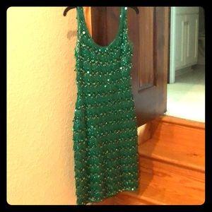 Vintage sequined green dress.